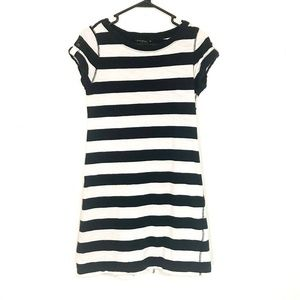 Banana Republic Striped Tee Shirt Dress S Black